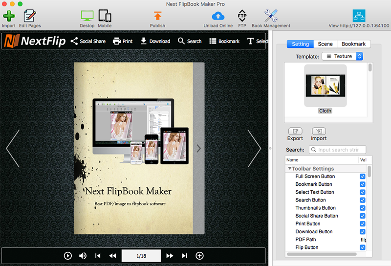 How to convert PDF to Flash/HTML5 flipbook on Mac with Next FlipBook