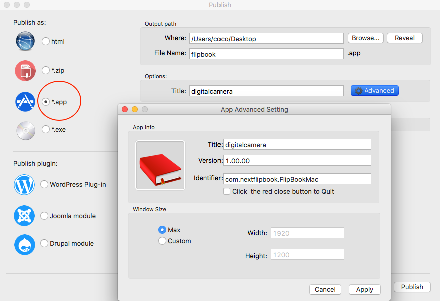 How to publish offline flipbook as html, zip, app, exe?