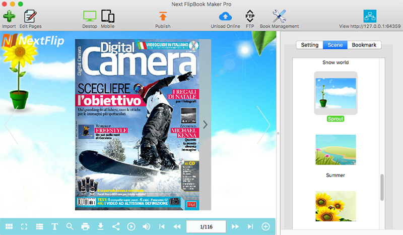How to add flipbook scene and background file with Next Flipbook Maker?